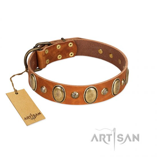 """Venus Breath"" FDT Artisan Tan Leather Rottweiler Collar with Vintage Looking Oval and Round Studs"