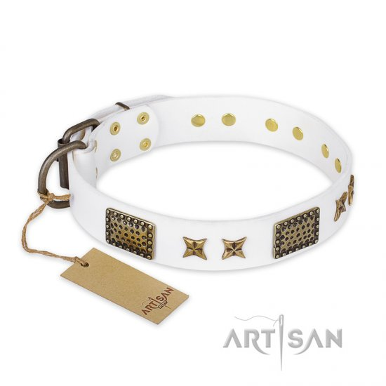 """Hour of Triumph"" FDT Artisan White Leather Rottweiler Collar"