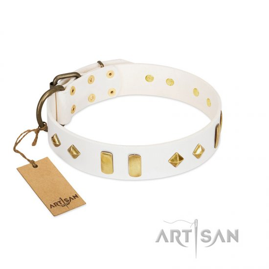 """Hella Cool"" FDT Artisan White Leather Rottweiler Collar Adorned with Plates and Rhombs"