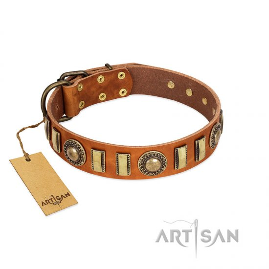 """Happy Hound"" FDT Artisan Tan Leather Rottweiler Collar with Elegant Decorations"