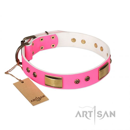 """Pink Daydream"" FDT Artisan Pink Leather Rottweiler Collar with Old Bronze Look Plates and Studs"