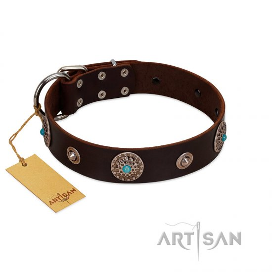 """Magic Stones"" FDT Artisan Brown Leather Rottweiler Collar with Chrome Plated Brooches and Studs"