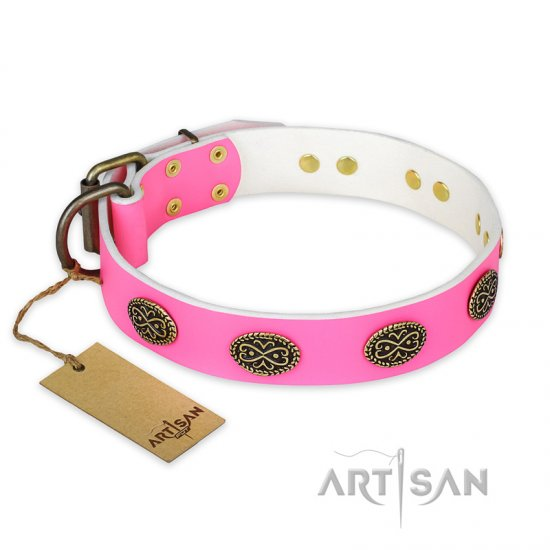 """Forever Fashion"" FDT Artisan Leather Rottweiler Collar with Old Look Plates - 1 1/2 inch (40 mm) wide"