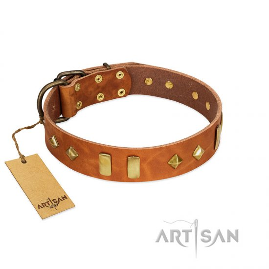 """Woofy Dawn"" FDT Artisan Tan Leather Rottweiler Collar with Plates and Rhombs"
