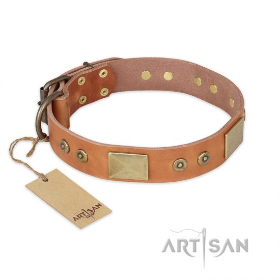 """The Middle Ages"" FDT Artisan Handcrafted Tan Leather Rottweiler Collar"