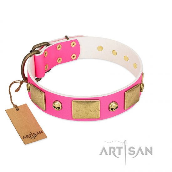 """Glammy Voyage"" FDT Artisan Pink Leather Rottweiler Collar with Stylish Bronze-like Decorations"