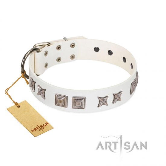 """Mister Perfection"" Designer Handmade FDT Artisan White Leather Rottweiler Collar"