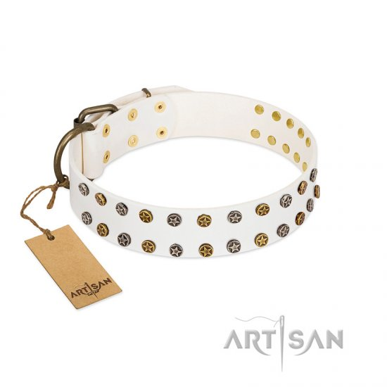 """Crystal Night"" FDT Artisan White Leather Rottweiler Collar with Two Rows of Small Studs"