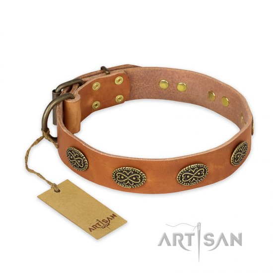 """Magic Amulet"" FDT Artisan Tan Leather Rottweiler Collar with Oval Studs"