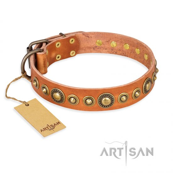 """Feast of Luxury"" FDT Artisan Tan Leather Rottweiler Collar with Old Bronze Look Circles"