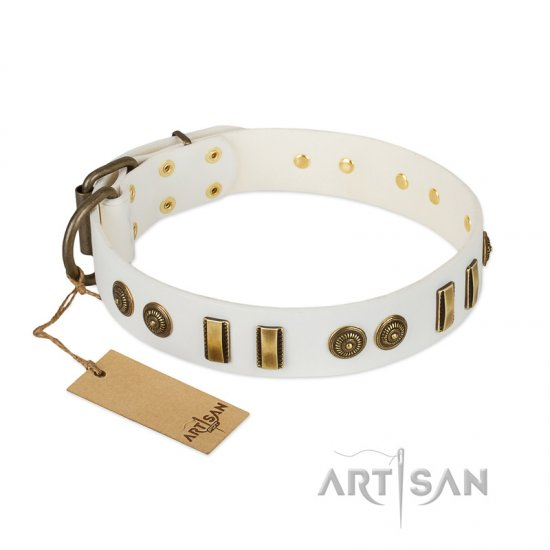"""Midsummer Snow"" FDT Artisan White Leather Rottweiler Collar with Old Bronze-like Plates and Circles"