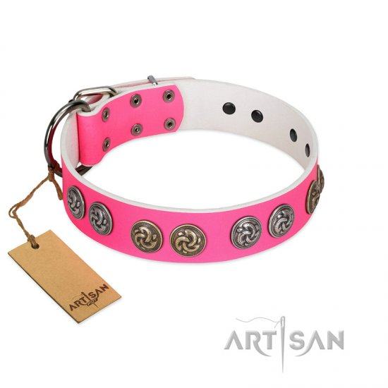"""Pink Butterfly"" Designer FDT Artisan Pink Leather Rottweiler Collar with Round Studs"
