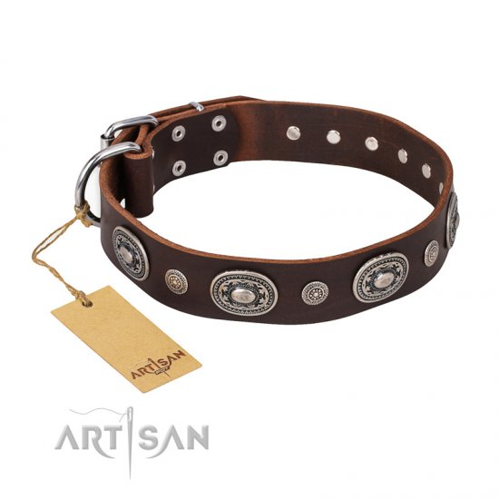 """Extra Pizzazz"" FDT Artisan Adorned Brown Leather Rottweiler Collar"