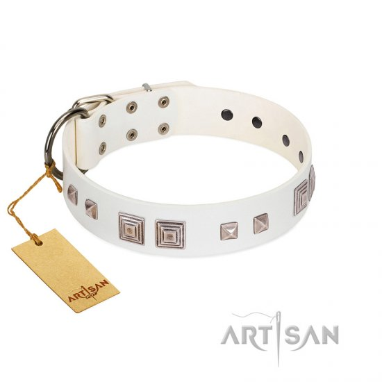 """Pure Quadratic"" Designer Handmade FDT Artisan White Leather Rottweiler Collar"