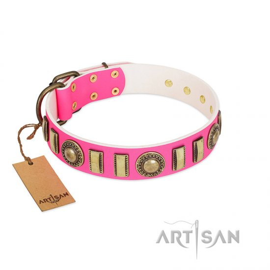 """La Femme"" FDT Artisan Pink Leather Rottweiler Collar with Ornate Brooches and Small Plates"
