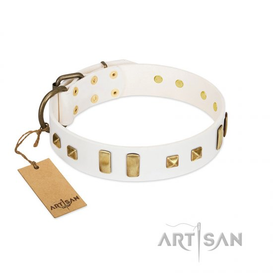 """Wintertide Mood"" FDT Artisan White Leather Rottweiler Collar with Old Bronze-like Plates and Studs"