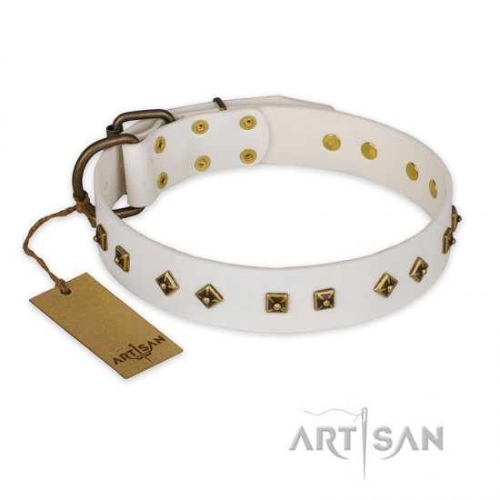 """Snow Cloud"" FDT Artisan White Leather Rottweiler Collar with Square and Rhomb Studs"