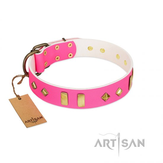 """Gentle Temptation"" FDT Artisan Pink Leather Rottweiler Collar with Goldish Plates and Studs"