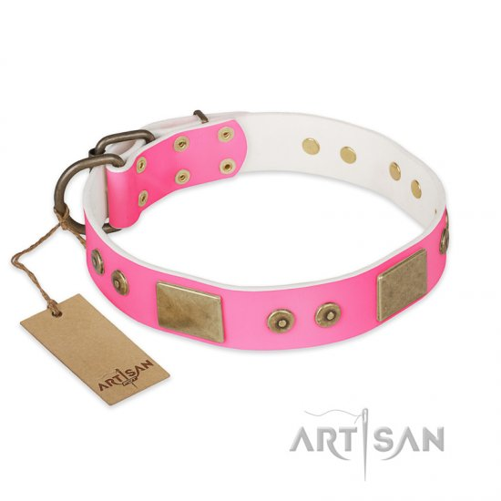 """Pink World"" FDT Artisan Pink Leather Rottweiler Collar with Old Bronze Look Plates and Studs"