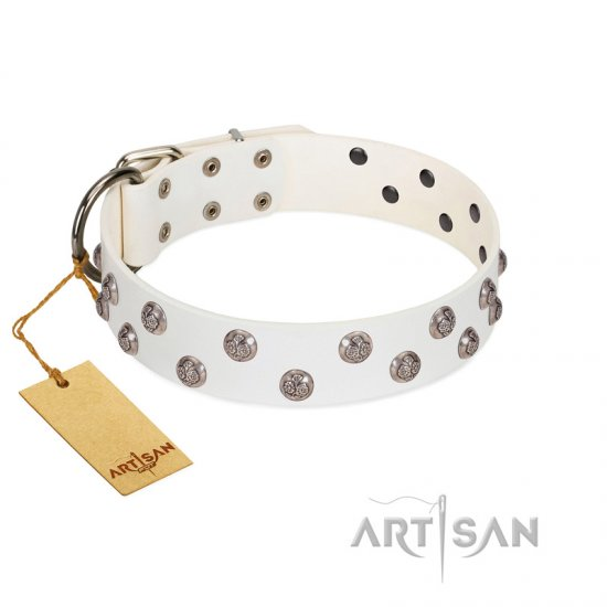 """Wild Flora"" FDT Artisan White Leather Rottweiler Collar with Silver-like Engraved Studs"