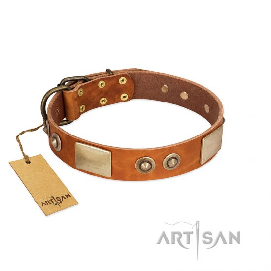 """Perfect Blend"" FDT Artisan Tan Leather Rottweiler Collar 1 1/2 inch (40 mm) wide"