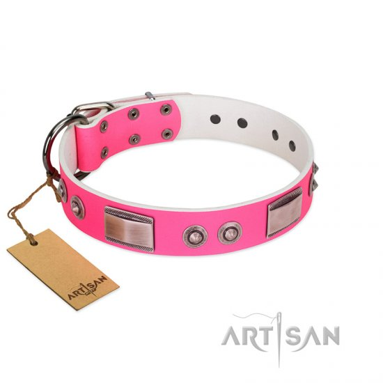 """Lady's Whim"" FDT Artisan Pink Leather Rottweiler Collar with Plates and Spiked Studs"