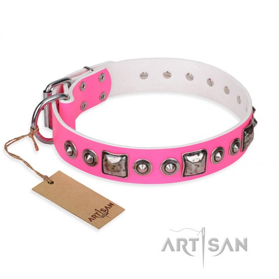 """Pink Dream"" FDT Artisan Leather Rottweiler Collar with Silvery Decorations"