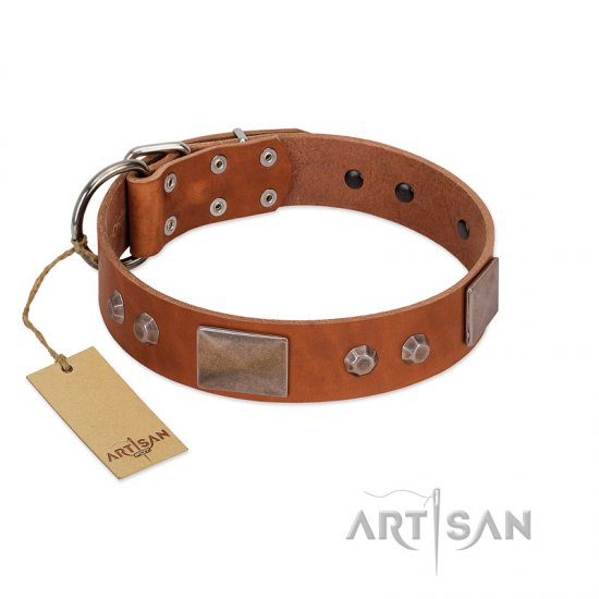 """Great Obelisk"" Handcrafted FDT Artisan Tan Leather Rottweiler Collar with Large Plates and Pyramids"
