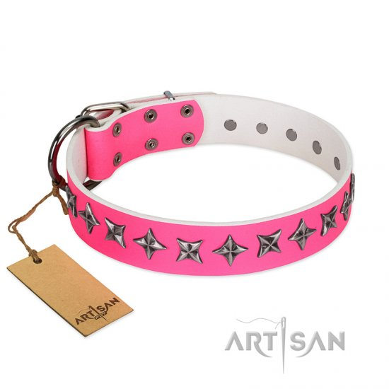 """Star Dreams"" FDT Artisan Pink Leather Rottweiler Collar with Silver-like Stars"