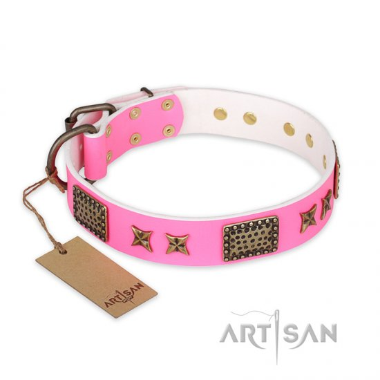 """Tender Pink"" FDT Artisan Leather Rottweiler Collar with Old Bronze Look Stars and Plates"