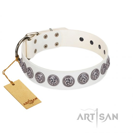 """Bohemian Spirit"" Handmade FDT Artisan White Leather Rottweiler Collar with Vintage Decorations"