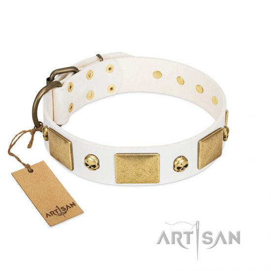 """Inspiration"" FDT Artisan White Leather Rottweiler Collar with Antiqued Skulls and Plates"