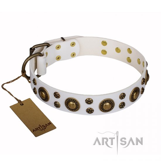 'White Gentle Feather' FDT Artisan Rottweiler Genuine Leather Collar with Old-bronze Plated Decorations