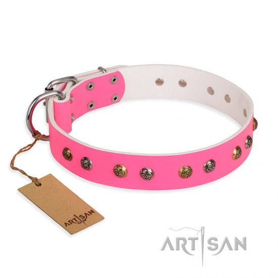 """Sheer love"" Pink Leather FDT Artisan Rottweiler Collar with Old-look Hemisphere Studs"