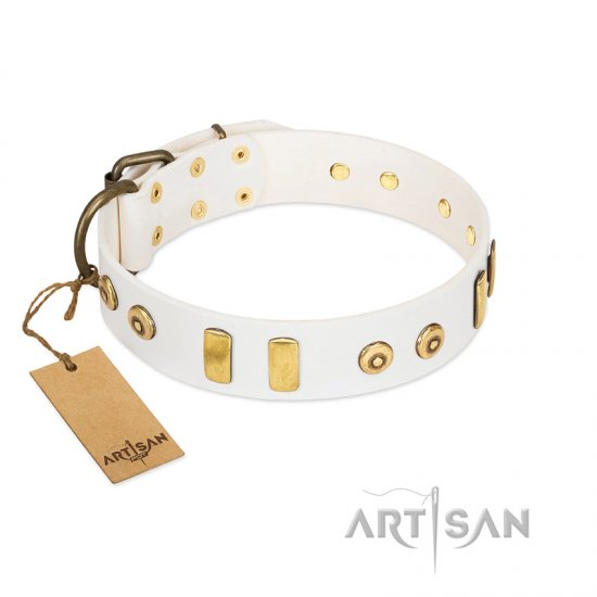 """Golden Union"" Elegant FDT Artisan White Leather Rottweiler Collar with Old Bronze-like Dotted Studs and Tiles"