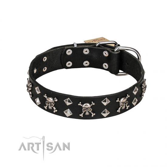 FDT Artisan 'Rock 'n' Roll Style' Fancy Leather Rottweiler Collar with Skulls, Bones and Studs 1 1/2 inch (40 mm) wide