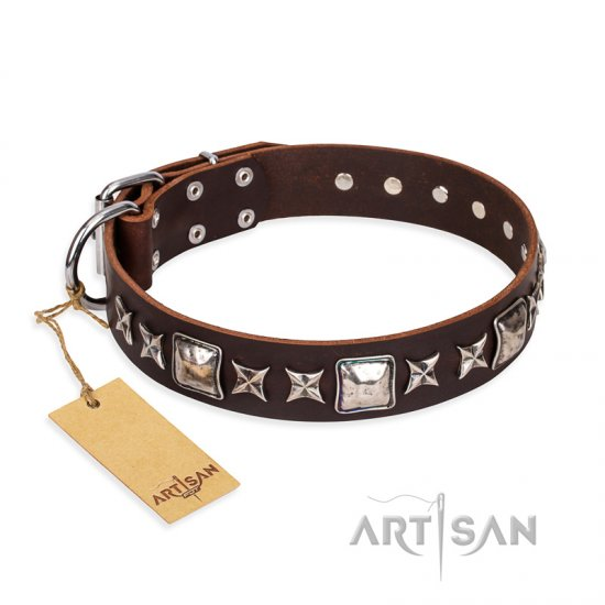 'Perfect Impression' FDT Artisan Rottweiler Brown Leather Dog Collar with Silvery Square Studs - 1 1/2 inch (40 mm) Wide