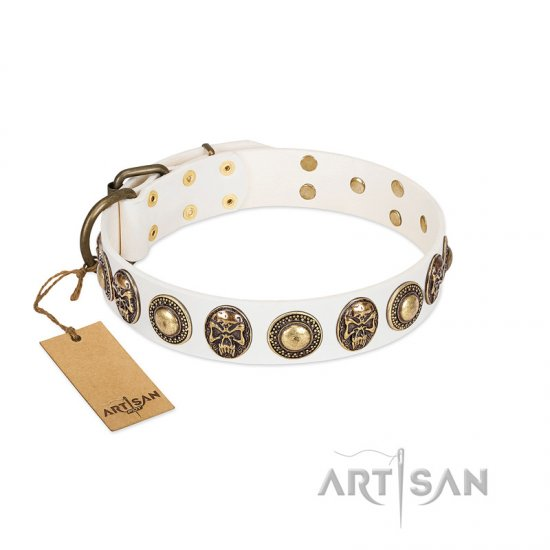 """White Delight"" FDT Artisan White Leather Rottweiler Collar with Exclusive Embelishments"