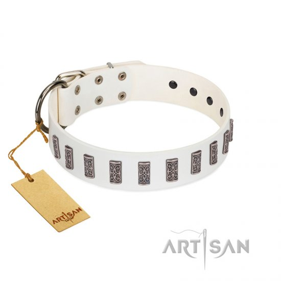 """Heaven's Gates"" Handmade FDT Artisan White Leather Rottweiler Collar with Silver-Like Engraved Plates"