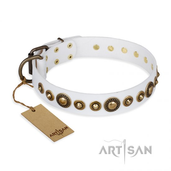 """Swirl of Fashion"" FDT Artisan Delicate White Leather Rottweiler Collar with Stunning Bronze-Plated Round Studs"