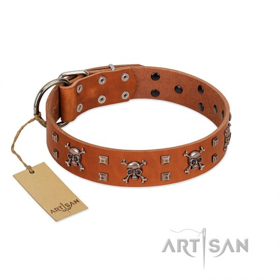 """Rebellious Nature"" FDT Artisan Tan Leather Rottweiler Collar Embellished with Crossbones and Square Studs"