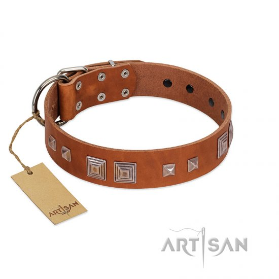 """Egyptian Gifts"" Handmade FDT Artisan Tan Leather Rottweiler Collar with Chrome-plated Pyramids"