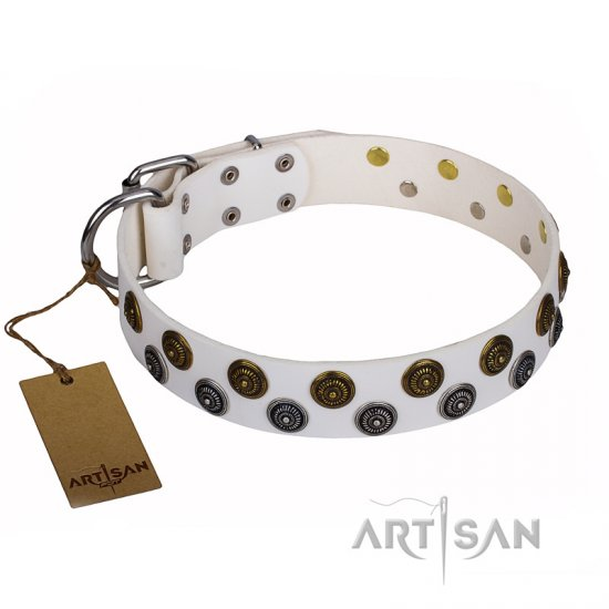 """Snowflake"" FDT Artisan White Leather Rottweiler Collar with Dainty Decorations"