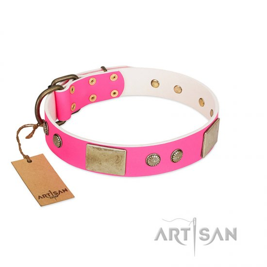"""Flower Parade"" FDT Artisan Pink Leather Rottweiler Collar with Plates and Studs"