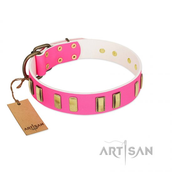 """Rubicund Frill"" FDT Artisan Pink Leather Rottweiler Collar with Engraved and Smooth Plates"