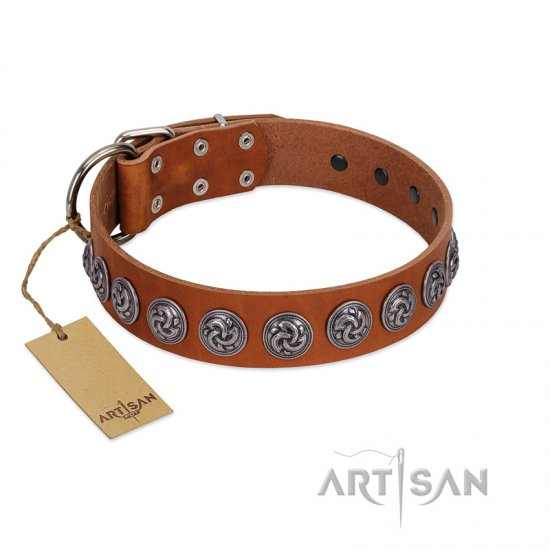 """Velvet Kiss"" Handmade FDT Artisan Tan Leather Rottweiler Collar with Vintage Medallions"
