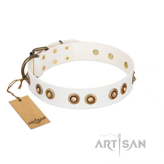 """Moonlit Stroll"" FDT Artisan White Leather Rottweiler Collar with Antique Decorations"
