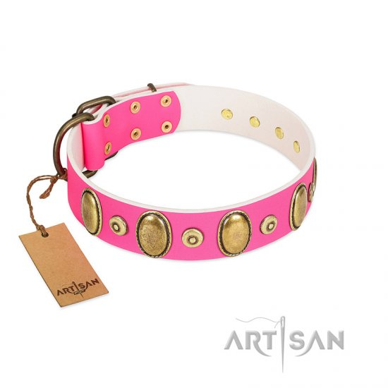 """Drawing Power"" FDT Artisan Pink Leather Rottweiler Collar with Engraved Ovals and Dotted Studs"