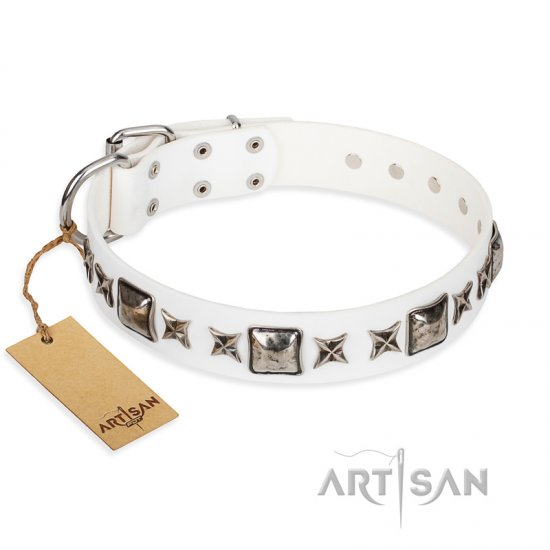 """Intergalactic Travelling"" FDT Artisan Handcrafted White Leather Rottweiler Collar"