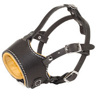 Softie Easy Breathe Rottweiler Muzzle-Nappa Padded Designer Leather Dog Muzzle